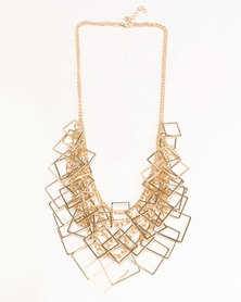 Ruby Rocks Square Detail Statement Necklace Gold-Tone