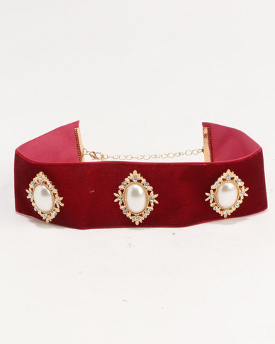 Ruby Rocks Velvet and Pearl Choker Red