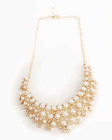 Ruby Rocks Faux Pearl And Crystal Necklace Gold-Tone