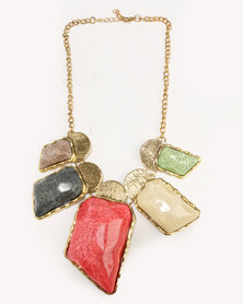 Ruby Rocks Make A Statement Colour Necklace Gold-Tone