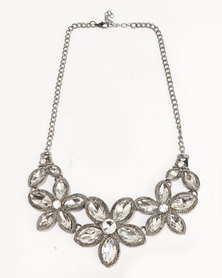 Ruby Rocks Flower Statement Necklace Silver-Tone