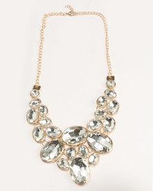 Ruby Rocks Gem Necklace Gold Tone