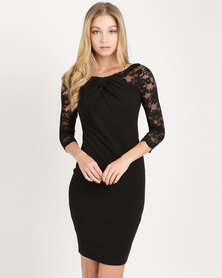 City Goddess London Pleated Midi Dress with Lace Sleeves Black