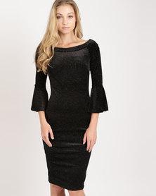 City Goddess London Glitter Velvet Midi Dress with Bell Sleeves Black