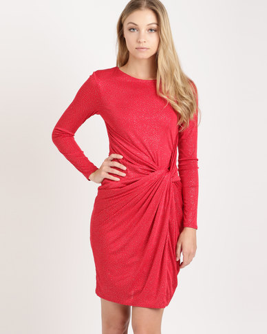 City Goddess London Front Knot Glitter Midi Dress with Sleeves Red