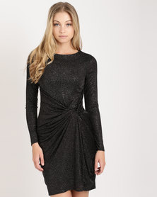 City Goddess London Front Knot Glitter Midi Dress with Sleeves Black