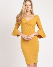 City Goddess London Sweetheart Neckline Midi Dress with Bell Sleeves Mustard