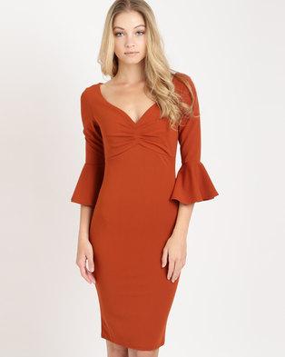df64a7e0389 City Goddess London Sweetheart Neckline Midi Dress with Bell Sleeves Rust