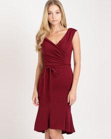 City Goddess London Pleated Midi Dress with Tie Detail Wine