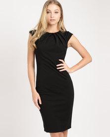 City Goddess London Pleated Neckline Cap Sleeve Midi Dress Black