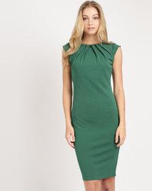City Goddess London Pleated Neckline Cap Sleeve Midi Dress Emerald