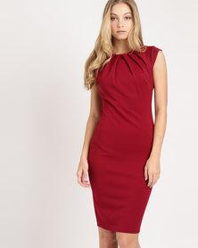 City Goddess London Pleated Neckline Cap Sleeve Midi Dress Wine