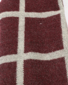 You & I Oversized Grid Knitted Blanket Scarf Marsala & Grey