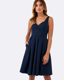 Forever New Chantal Jacquard Prom Dress Navy