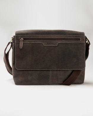 7a28733a7ffc Bossi Genuine Leather Laptop Bag Brown