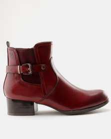 Pierre Cardin Smart Belted Gusset Ankle Boot Burgundy