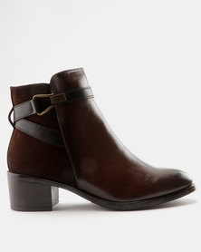 Pierre Cardin Fabric Combo Belted Ankle Boots Brown