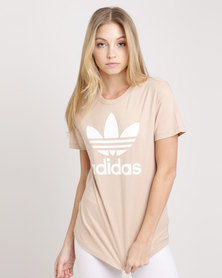 adidas Ladies Adicolour Classic Tee Ash Pearl/White