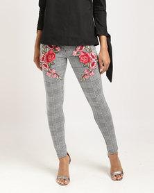Utopia Houndstooth Ponti Leggings With Embroidery Black/White