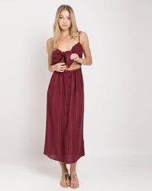 Billabong Midsummer Stripe Dress Burgundy