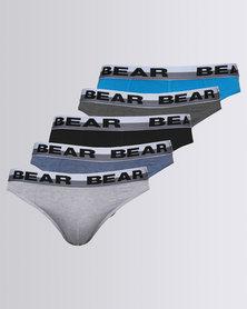 Bear Supreme Mini Plain Brief 5 Pack Black/Blue/Grey
