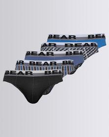 Bear Supreme Mini Print Brief 5 Pack Blue
