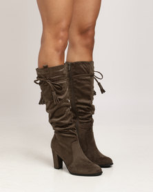 Utopia Shuffle Knee High Boots Olive
