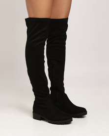 Utopia Over The Knee Flat Boots Black