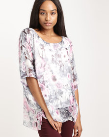 Queenspark Woodlands Rose Woven Blouse Multi