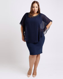 Queenspark Plus Overlay Chiffon And Knit Dress Navy
