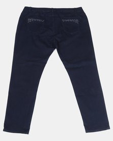 Queenspark Plus Sparkling Waist Denim Jeans Blue