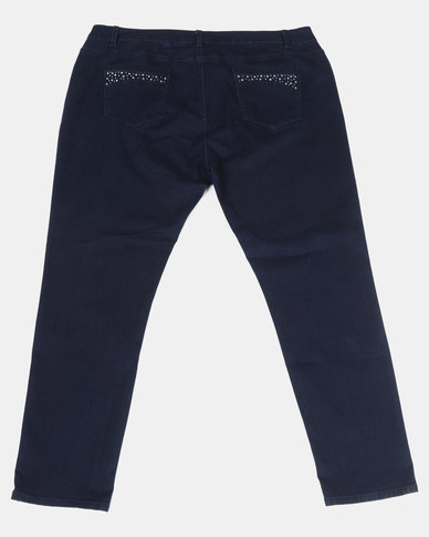 Queenspark Plus Sparkling Waist Denim Jeans Blue
