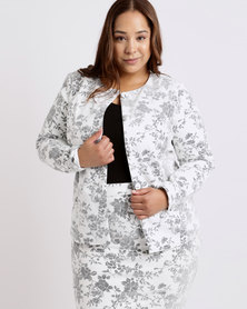 Queenspark Plus Flocked Knit Jacket Cream