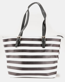 Blackcherry Bag Striped Handbag Black/White