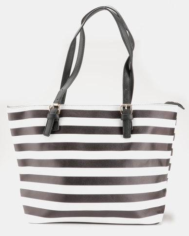 Blackcherry Bag Striped Handbag Black/White