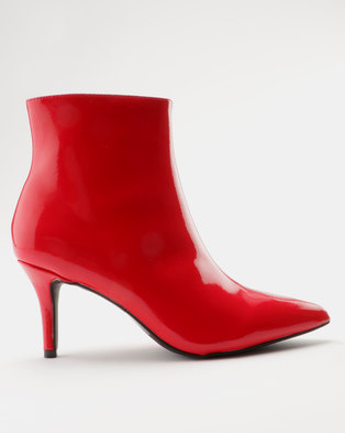 b6911c9cf4c ZOOM Nicola Kitten Heel Ankle Boot Red