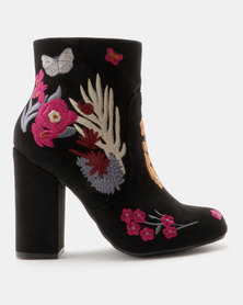 ZOOM Giselle Embroidered Block Heel Ankle Boot Black