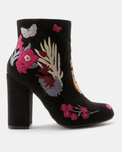 3d8f8944173d ZOOM Giselle Embroidered Block Heel Ankle Boot Black