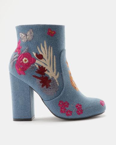 ZOOM Giselle Embroidered Block Heel Ankle Boot Dark/Denim