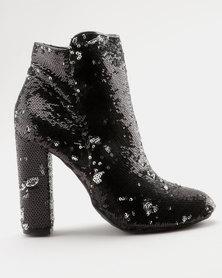 ZOOM Angie Sequins Block Heel Ankle Boot Black