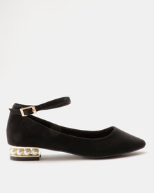 ZOOM Bev Pearl Trim Heel Pointy Flat Black