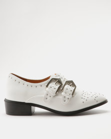 ZOOM Sam Double Buckle Western Ankle Bootie White