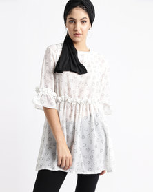 Thirty Rogue Georgette Tunic Heart Print Cream