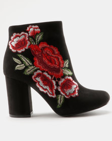 Madison Paisley Boots Black/Red Rose