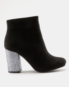 Madison Paisley Ankle Boot  Black/Silver Glitter