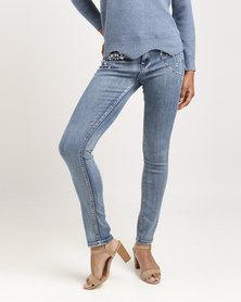 Queenspark Jewel Delight Woven Denim Jeans Blue