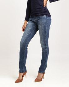 Queenspark Double Button Miracle Woven Denim Jeans Indigo