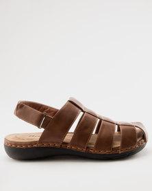 Bata Mens Slingback Sandals Brown