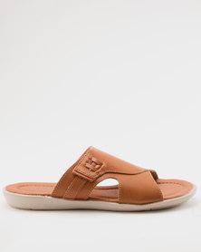 Bata Mens Slip On Sandals Tan