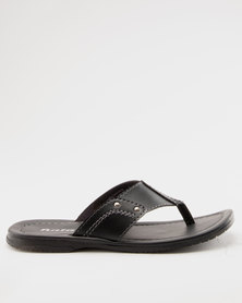 Bata Mens Thong Sandals Black